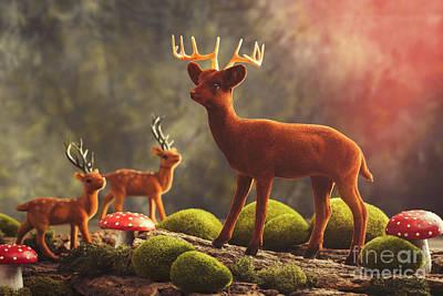 Toadstools Photograph - Reindeer Scene by Amanda Elwell