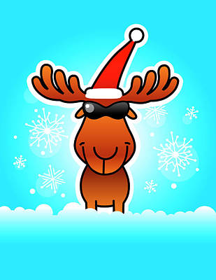 Traditional Culture Digital Art - Reindeer Wearing Santa Hat And Sunglasses by New Vision Technologies Inc