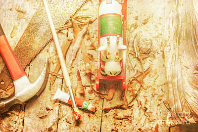 Reindeer With Tools And Wood Shavings Art Print by Jorgo Photography - Wall Art Gallery