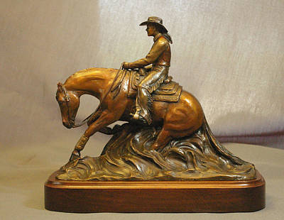 Bronze Sculpture - Reining Horse And Lady Rider Bronze Sculpture by Kim Corpany