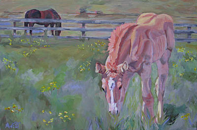 Palomino Foal Painting - Rein's Playground by Anne West