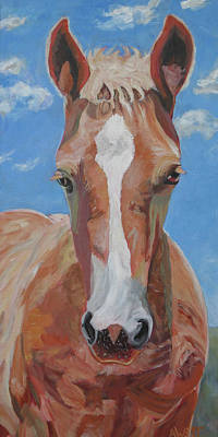 Palomino Foal Painting - Reiny Day by Anne West