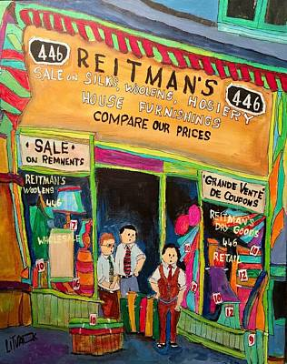 St. Lawrence Blvd Painting - Vintage Reitman's First Store 1926 St. Lawrence by Michael Litvack