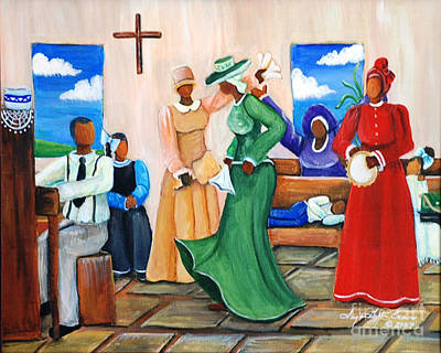Gullah Geechee Painting - Rejoicing  by Sonja Griffin Evans