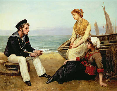 Sailors Girl Painting - Relating His Adventures by William Oliver