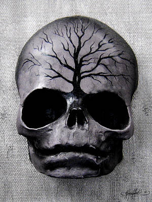 Creepy Mixed Media - Relative Skull 2 by Kalynn Kallweit