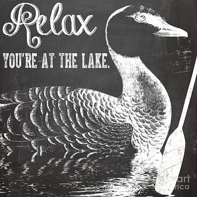 Relax Lake House Duck Sign Art Print by Mindy Sommers