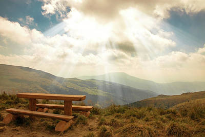 A Sunny Morning Photograph - relax on a mountain top by Iuliia Malivanchuk by Iuliia Malivanchuk