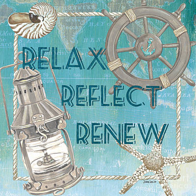 Map Painting - Relax Reflect Renew by Debbie DeWitt