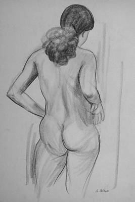 Drawing - Relaxed Standing Back Pose by Robert Holden