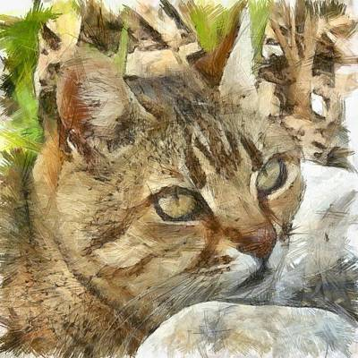 Painting - Relaxed Tabby Cat Resting In Garden by Tracey Harrington-Simpson
