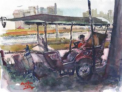 Painting - Relaxed Tuk Tuk In Phnom Penh by Gaston McKenzie