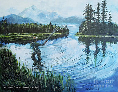 Painting - Relaxing @ Fly Fishing by Joseph Mora