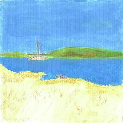 Row Boat Digital Art - Relaxing Along Cove by Rick Binkley