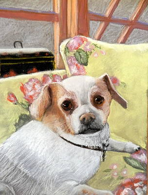 Pastel - Relaxing In Mom's Chair by Lenore Gaudet