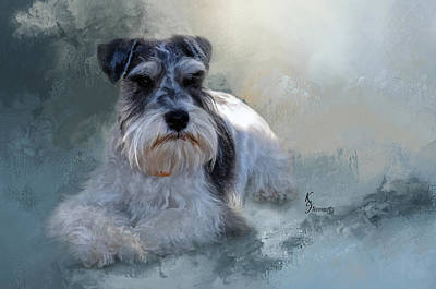 Miniature Schnauzer Puppy Digital Art - Relaxing  by Kimberly Stevens