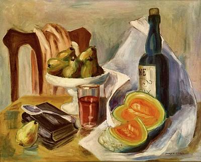 Painting - Relaxing With Wine Fruit And Books By Mary Krupa by Bernadette Krupa