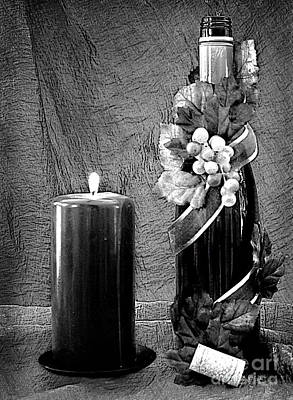 Photograph - Relaxing With Wine In B And W by Sherry Hallemeier