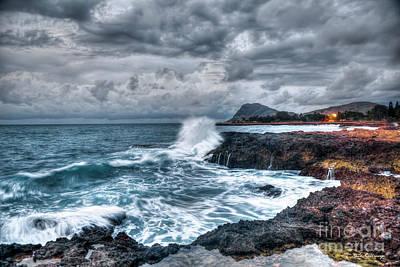 Photograph - Relentless Splash Oahu Stormy Sunset Hawaii Collection Art by Reid Callaway