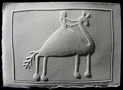 Relief Camel Rider Art Print by Suhas Tavkar