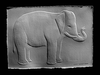Photograph - Relief Elephant Drawing by Suhas Tavkar