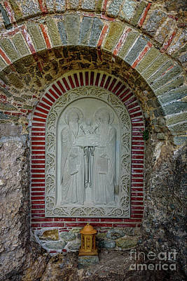 Photograph - Religious Stone Relief On A Monastery At Meteora, Greece by Global Light Photography - Nicole Leffer