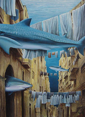 Bedclothes Painting - Relitto by Roberto Rizzo