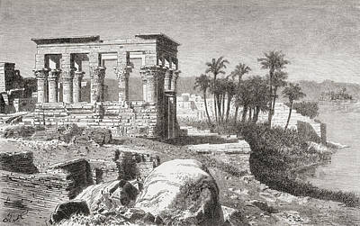 Archaelogy Drawing - Remains Of The Temple At Philae, Egypt by Vintage Design Pics
