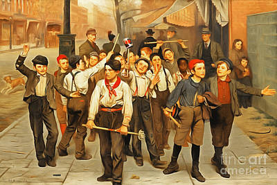 Wingsdomain Painting - Remastered Art Our Gang By John George Brown 20170408 by Wingsdomain Art and Photography