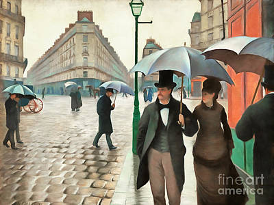 Wingsdomain Painting - Remastered Gustave Caillebotte Paris Street Rainy Day 20170408 by Wingsdomain Art and Photography