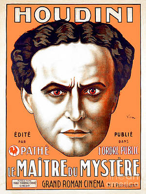 Art Print featuring the photograph Remastered Nostagic Vintage Poster Art Houdini Master Of Mystery by Wingsdomain Art and Photography
