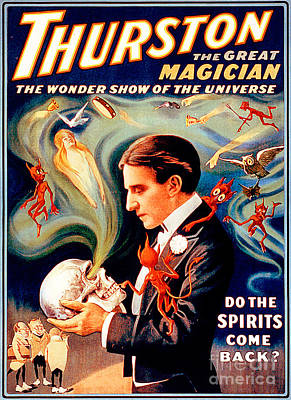 Photograph - Remastered Nostagic Vintage Poster Art Thurston The Great Magician Do The Spirits Come Back 20170415 by Wingsdomain Art and Photography
