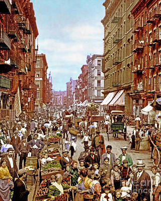 Photograph - Remastered Photograph Mulberry Street Manhatten New York City 1900 20170716 Vertical Cut by Wingsdomain Art and Photography
