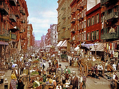 Photograph - Remastered Photograph Mulberry Street Manhatten New York City 1900 20170716 by Wingsdomain Art and Photography