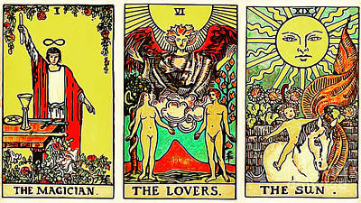 Remastered The Three Tarot The Magician The Lovers And The Sun 20170423 Art Print by Wingsdomain Art and Photography