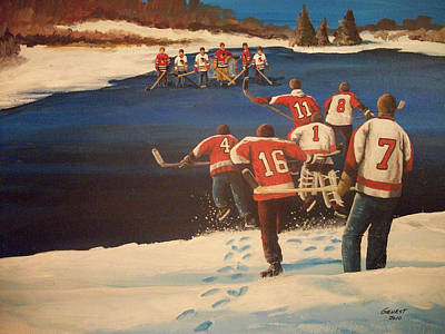 Minor Hockey Painting - Rematch 2010 - The Bullies Are Back by Ron  Genest