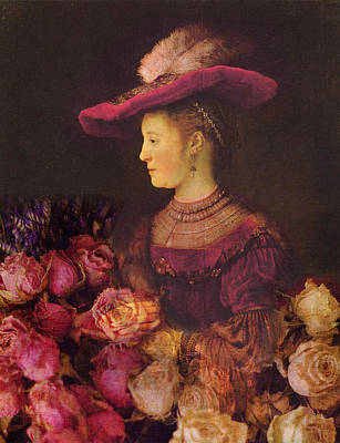 Saskia Photograph - Rembrandt Saskia Van Uylenburgh Antique Pink Roses by Suzanne Powers