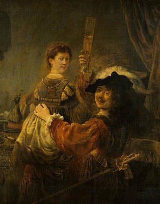 Saskia Painting - Rembrandt And Saskia In The Scene Of The Prodigal Son by Rembrandt
