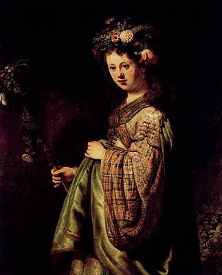 Saskia Digital Art - Rembrandt Saskia As Flora by PixBreak Art