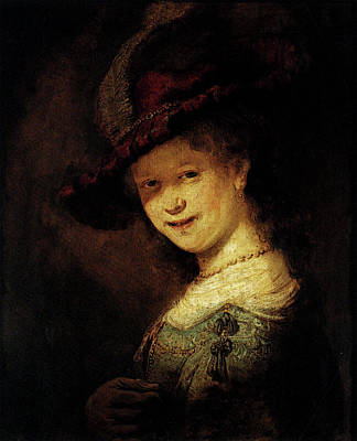 Saskia Digital Art - Rembrandt Saskia Laughing by PixBreak Art