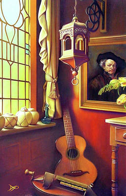 Glass Painting - Rembrandt's Hurdy-gurdy by Patrick Anthony Pierson