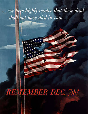 Us Flag Mixed Media - Remember December Seventh by War Is Hell Store