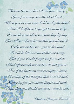 Digital Art - Remember Poem By Christina Georgina Rossetti by Olga Hamilton
