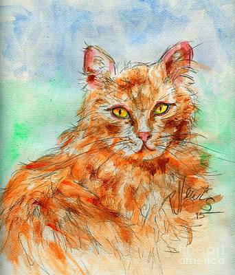 Watercolor Pet Portraits Drawing - Remembering Butterscotch by P J Lewis