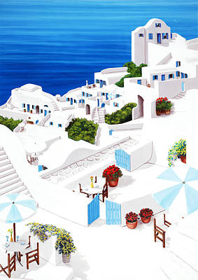 Remembering Santorini - Prints Of Original Oil Painting Art Print by Mary Grden's Baywood Gallery