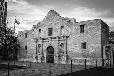 Photograph - Remembering The Alamo In Black And White - San Antonio Texas by Gregory Ballos