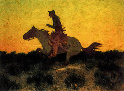 Remington Frederic Against The Sunset Art Print by Frederic Remington