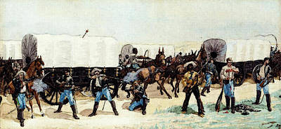 Remington Frederic Attack On The Supply Train Art Print by Frederic Remington