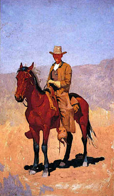 Remington Frederic Mounted Cowboy In Chaps With Race Horse Art Print by Frederic Remington
