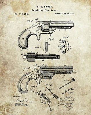 Drawing - Remington Hand Gun Patent by Dan Sproul